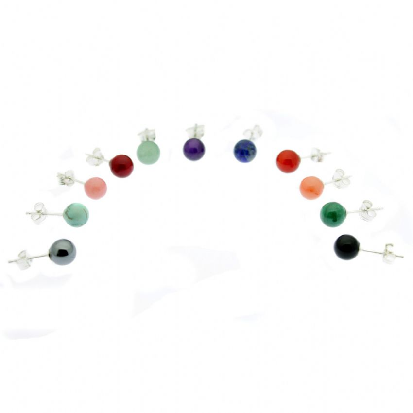 Semi Precious Gemstone Earrings 6MM Round Sterling Silver Studs
